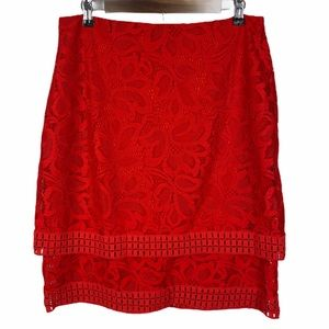 Worthington Red Lace Floral Layered Lined Skirt